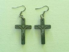 Hematite crucifix earrings
